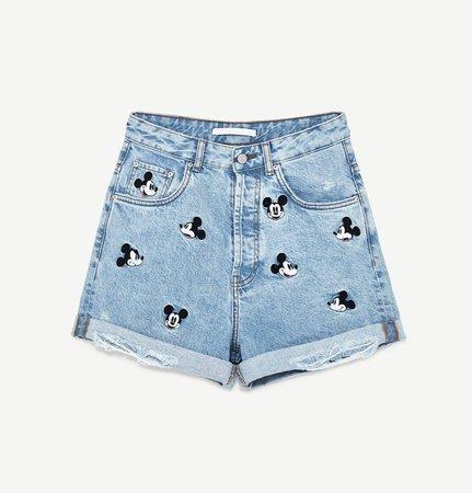 Zara Mickey Mouse Denim Shorts