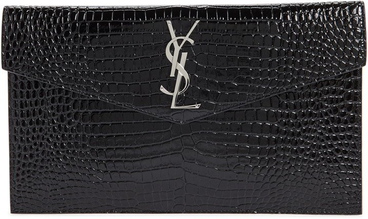 Uptown Croc Embossed Leather Clutch