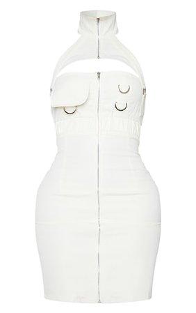 Shape Cream Cargo Woven Buckle Bodycon Dress   PrettyLittleThing USA