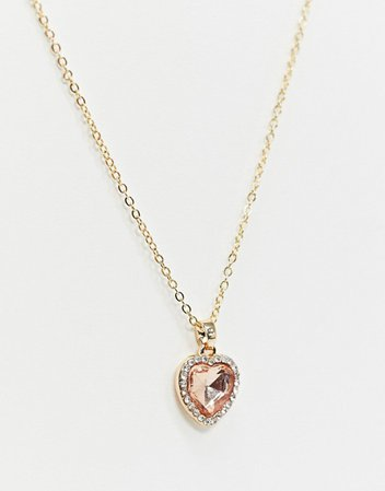 ASOS DESIGN necklace with pink heart jewel pendant in gold tone | ASOS