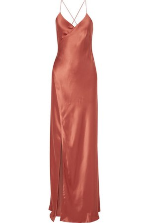 Michelle Mason | Silk-satin wrap gown | NET-A-PORTER.COM