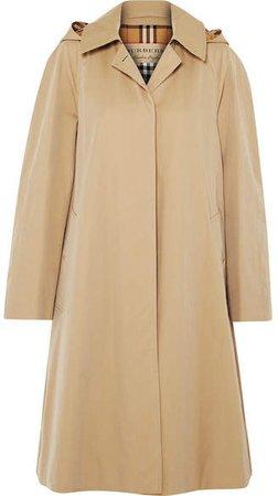 Oversized Hooded Cotton-gabardine Trench Coat - Beige