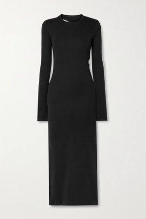 Cutout Cotton-jersey Maxi Dress - Black