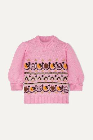 GANNI | Intarsia wool and alpaca-blend sweater | NET-A-PORTER.COM