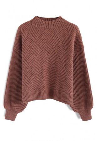 brown diamond knit sweater