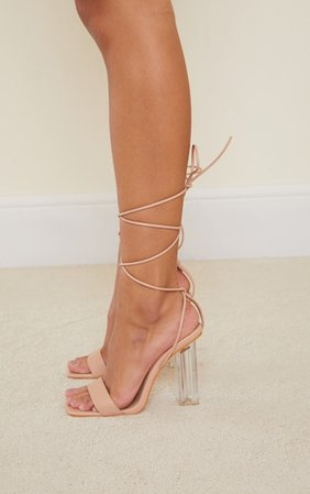 Nude Pu Lace Up High Clear Block Heels   PrettyLittleThing USA
