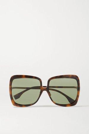 Tortoiseshell Oversized square-frame tortoiseshell acetate and gold-tone sunglasses | Fendi | NET-A-PORTER