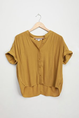 O'Neill Shelly Top - Chartreuse Green Blouse - Short Sleeve Top