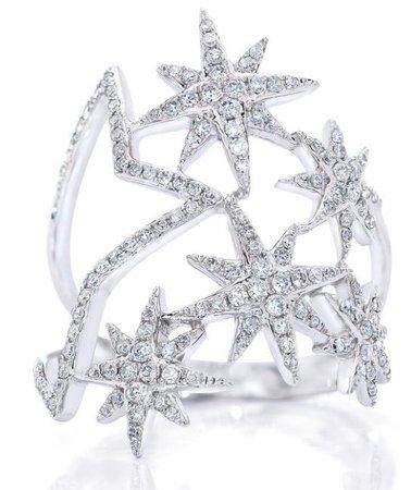silver multi star ring