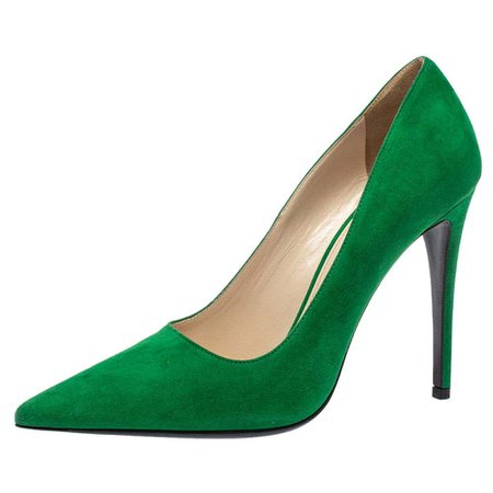 Prada Green Suede Pointed Toe Pumps Size 39 For Sale at 1stDibs