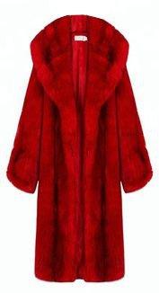 Faux Fur Long Coat - Red