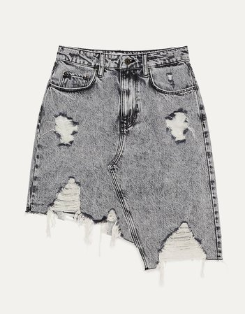 Asymmetric denim skirt - New - Bershka United States