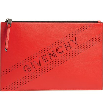 Givenchy Medium Perforated Logo Leather Pouch Red