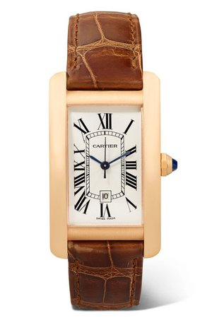 Cartier | Tank Américaine 22.6mm medium 18-karat pink gold and alligator watch | NET-A-PORTER.COM