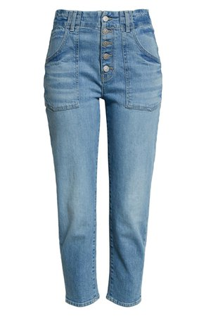 Arya Exposed Button Crop Straight Leg Jeans | Nordstrom