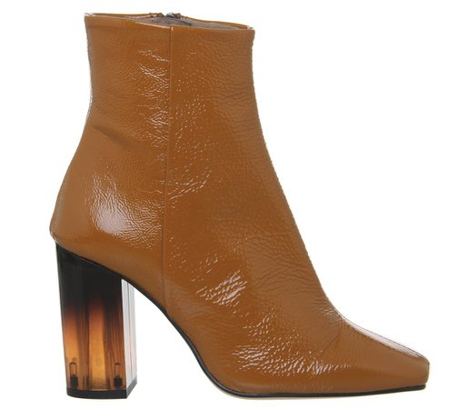Office All Right Block Heel Boots Rust Patent Leather Transparent Heel - Ankle Boots