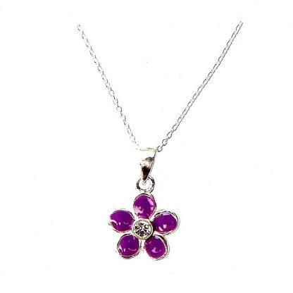 Child's Purple Flower Necklace - Silver Jewellery Cavern Wholesale