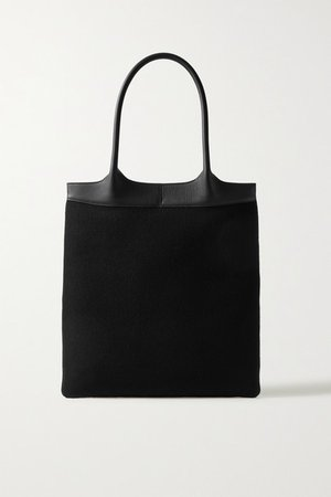 Leather-trimmed Cashmere Tote - Black