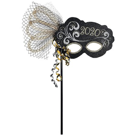Black, Gold & Silver Glitter 2020 Masquerade Mask on a Stick 13in x 5 1/2in | Party City Canada