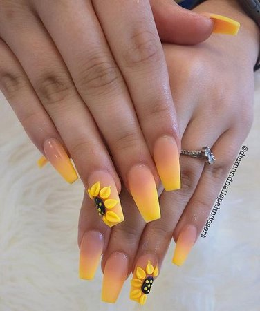 summer sunflower yellow flowing nails spring