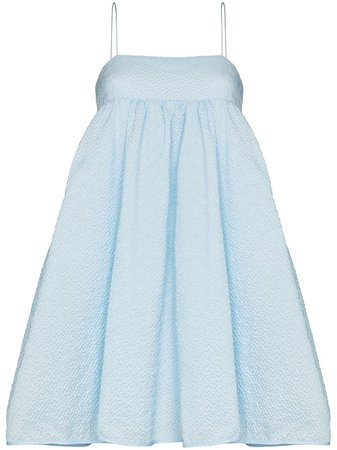 Shop blue Cecilie Bahnsen Lisbeth cloqué-style mini dress with Express Delivery - Farfetch