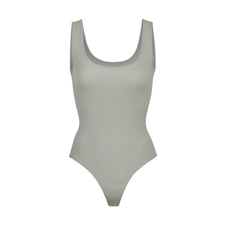 Stretch Rib Scoop Tank Bodysuit - Sea Haze   SKIMS