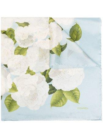 Chanel, camellia print scarf