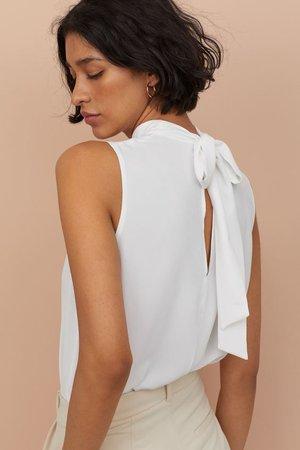 Sleeveless Blouse - White - | H&M US