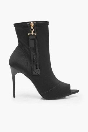 Zip Side Peeptoe Stiletto Heel Shoe Boots | Boohoo black