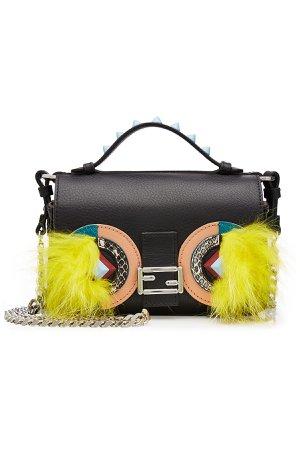 Embellished Leather Double Baguette Shoulder Bag Gr. One Size