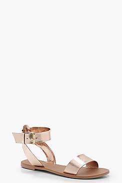 Saskia Two Part Ankle Strap Leather Sandals