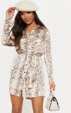 Beige Snake Satin Shirt Dress | Dresses | PrettyLittleThing