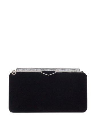 Black & silver Jimmy Choo Ellipse clasp-fastening clutch bag - Farfetch