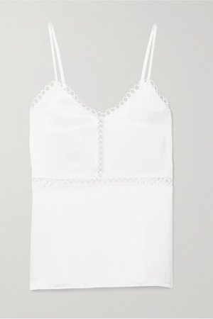 White The Tracey lattice-trimmed silk-charmeuse camisole | Cami NYC | NET-A-PORTER