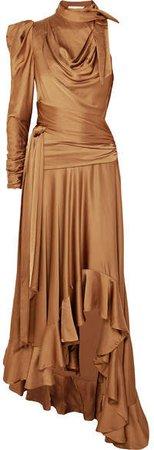 Valiant Open-back Ruffled Satin Maxi Dress - Bronze