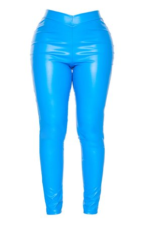 *clipped by @luci-her* Shape Bright Blue PU V Front Leggings | PrettyLittleThing USA