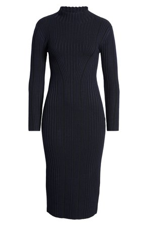 French Connection Jolie Rib Long Sleeve Knit Midi Dress | Nordstrom