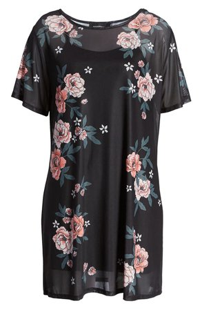 MINKPINK Midnight Flowers Mesh T-Shirt Dress | Nordstrom