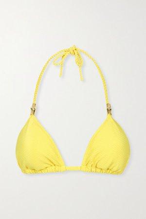 Cancun Embellished Triangle Bikini Top - Yellow