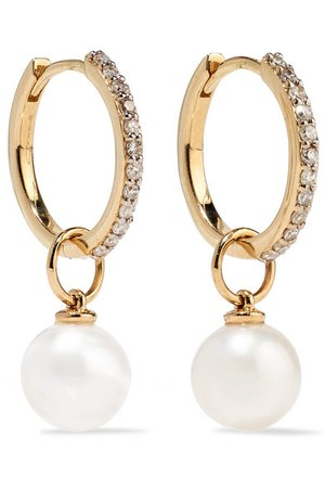 Mateo | 14-karat gold, diamond and pearl hoop earrings | NET-A-PORTER.COM