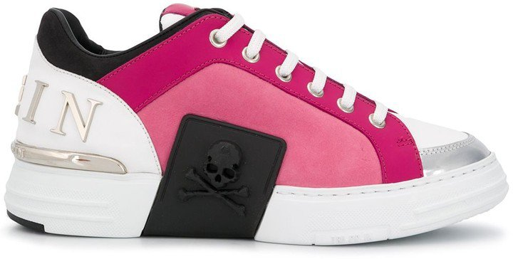 Statement panelled low-top sneakers