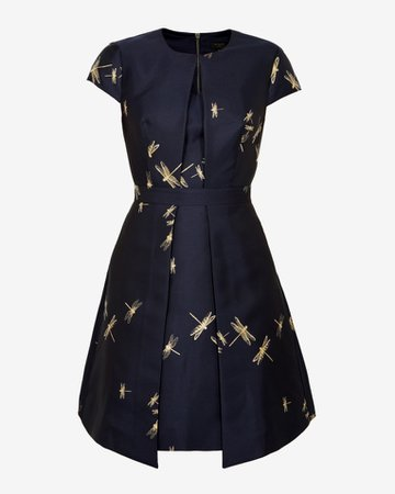 Dragonfly jacquard dress - Dark Blue | Dresses | Ted Baker UK