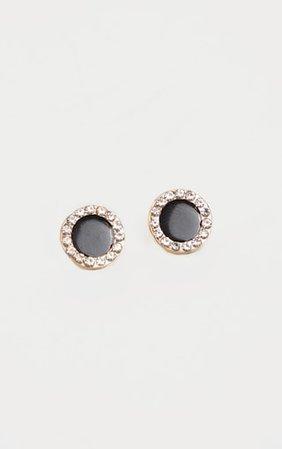 Black Round Diamante Border Stud Earrings | PrettyLittleThing