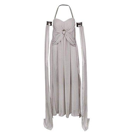Amazon.com: SNXST Halloween Women's Grey Long Train Chiffon Dress Game of Daenerys Dragons Mother Cosplay Costume: Clothing