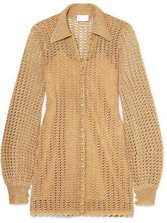 I Found You Metallic Crochet-knit Mini Dress - Gold