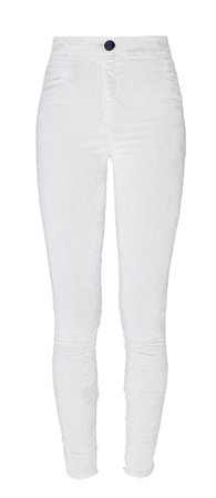 Balmain White Slim Fit Velvet Pants