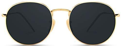 Amazon.com: WearMe Pro - Reflective Lens Round Trendy Sunglasses (Gold Frame/Black Lens, 51): Clothing