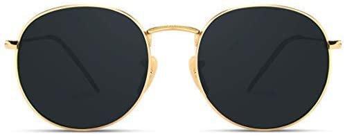 Amazon.com: WearMe Pro - Reflective Lens Round Trendy Sunglasses (Gold Frame/Black Lens, 51): Clothing