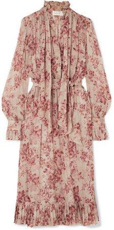 Unbridled Pussy-bow Floral-print Silk-georgette Midi Dress - Antique rose