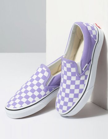 VANS Checkerboard Classic Slip-On Violet Tulip & True White Womens Shoes - LILAC - 346266762 | Tillys